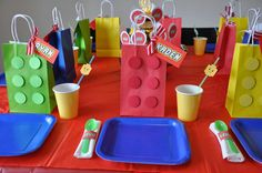 Decoración de mesa fiesta LEGO