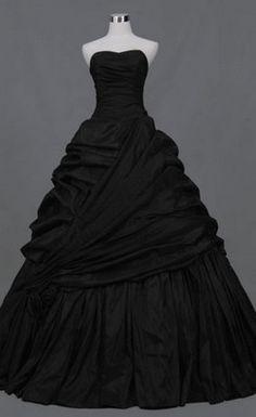 Gorgeous Sweetheart A-line Pick-ups Chapel Train Black Wedding Dress