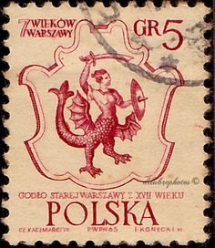 Poland.  Warsaw's Coat of Arms, 17th Centenary.  Scott 1334 A444, Issued 1965 July 21, Engr., Perf. 11x11 1/2, Uwmk.,