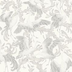 Dancing Cranes by Engblad & Co - Light Grey : Wallpaper Direct Botanical Wallpaper, Grey Wallpaper, Home Wallpaper, Victorian House Interiors, Crane Bird, Illustrations, Designer Wallpaper, Wall Colors, Textured Background