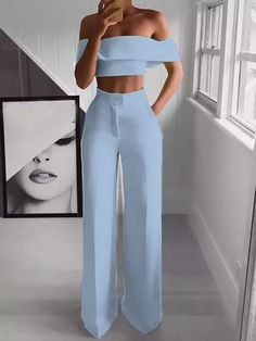 Product Sexy Bare Back Sloping Shoulder Sleeveless Pure Colour Suit Brand Name Naychic SKU Gender Women Item Type Suit Pattern Type Pure C Suit Fashion, Fashion Pants, Look Fashion, Fashion Dresses, Fashion Jumpsuits, Ladies Fashion, High Fashion, Womens Jumpsuits, Formal Fashion