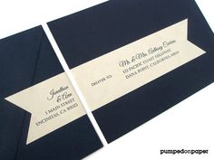 Wrap Around Mailing Label Sticker Navy Blue Envelope Striped Lining PAPE