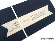Wrap Around Mailing Label Sticker Navy Blue Envelope Striped Lining PAPE