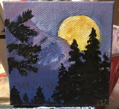 Super Moon (from Painting with Jane) - 3 x 3 mini canvas. So loved painting this!!