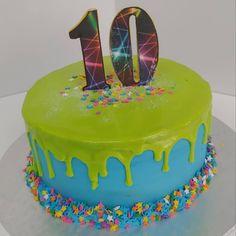 #laser#lasertag #neon #drip #cake #dlish Cakes For Boys, Birthday Cakes, Neon, Desserts, Neon Tetra, Anniversary Cakes, Deserts, Dessert, Birthday Cake