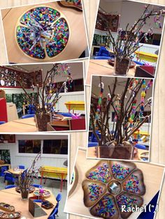 Threading beads onto wire & pipe-cleaners. Beautiful collaborative art!