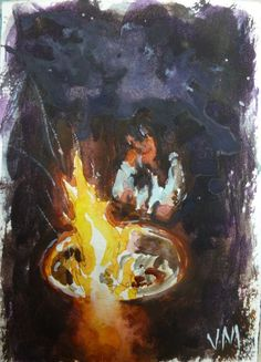 Campfire ACEO Card Original Watercolor Painting One of a kind artwork  #Realism