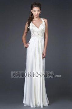 A-Line Sheath/Column V-neck Straps Chiffon Prom Dress - IZIDRESSES.COM