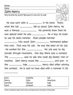 Printables John Henry Worksheets pinterest the worlds catalog of ideas whole bunch tall tale activity pages