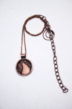 Wolf and Moon I - handmade unisex pendant of wolf head on full moon from copper wire and sheet, Spirit Animal