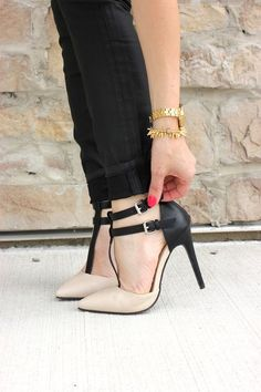 Black and nude t strap heels