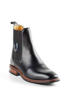 This Particular DeNiro short Riding Boot features shiny blue detailing on the side of the boot, it comes in a beautiful black grain calfskin leather.
