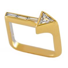 Rare 18K Gold and Diamond Arrow Ring | From a unique collection of vintage cocktail rings at http://www.1stdibs.com/jewelry/rings/cocktail-rings/
