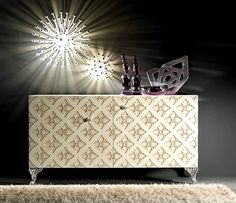 F850 SIDEBOARD OR CREDENZA WITH SOLID BACK FRETWORK and silver leaf