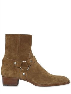 Handmade men dark tan color side zipper high ankle boots, Men suede leather boot #Handmade #Boots