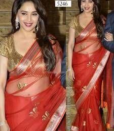 Buy Red Zari work Net saree with blouse madhuri-dixit-saree online Bollywood Saree, Indian Bollywood, Bollywood Fashion, Bengali Saree, Beautiful Bollywood Actress, Most Beautiful Indian Actress, Madhuri Dixit Saree, Ethnic Trends, Long Indian Hair