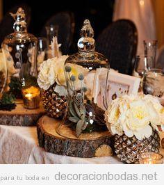 Decoración de mesa de boda estilo rústico y romántico