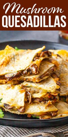 Cheese and Mushroom Quesadillas! Crispy, cheesy quesadillas come together in just minutes! To make these a more complete meal, we add mushrooms to the mix. They make a quick snack, or a full meal with a salad or soup on the side. #quesadilla #weeknightdinner #mushrooms #cheese #simplyrecipes