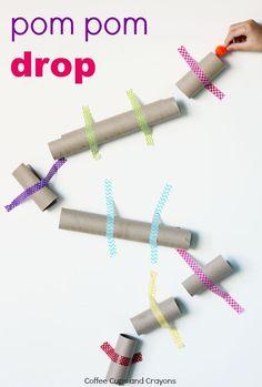 Simple STEM activity for kids. Pom Pom Drop made from empty cardboard tubes! #daycareideas