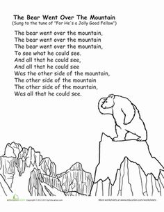 """Sing along to a classic childhood tune with this coloring sheet, featuring """"The Bear Went Over the Mountain""""!"""