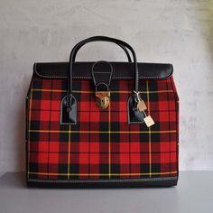Vintage 60s RED PLAID Doctor Bag