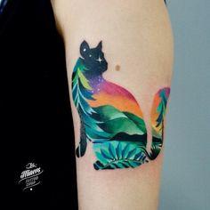 Cat tattoo by Martyna Popiel MartynaPopiel landscape cat watercolour watercolor