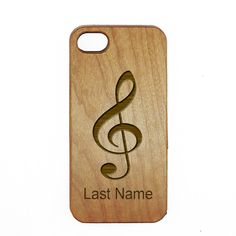 Music  Wood Custom Cellphone Case Personalized Last Name