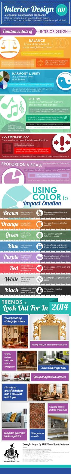 nfographic that includes some great info for any beginner such as how to incorporate the fundamental principles of interior design, how to use color to impact emotion, and even some trends to look for in 2014