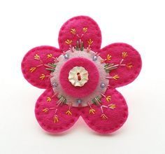 Candy pink daisy flower brooch by cherry pips, via Flickr