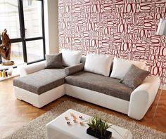 Couch Sofas Clovis Schwarz Strukturstoff Mit Hocker Wohnlandschaft Modular