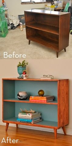 Before and After: Mid-Century Bookcase Makeover - Shelf Bookcase - Ideas of Shelf Bookcase - Do this with the boys old bookcases! Before and After: Mid-Century Bookcase Makeover Curbly Bookcase Makeover, Furniture Makeover, Home Furniture, Furniture Design, Furniture Ideas, Furniture Inspiration, Pallet Furniture, Geek Furniture, Children Furniture