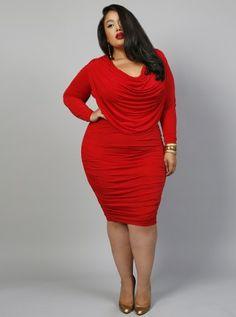 Alexandra Draped Goddess Dress Red - Monif C Plus Size Curvy