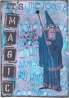 It's Magic No. 2 by Paula Fagerberg | by PaulaF   Dye inks, glitter, watercolor, rubber stamps, collage on paper