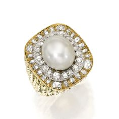 18 KARAT GOLD, PLATINUM, CULTURED PEARL AND DIAMOND RING, DAVID WEBB Centered by a cultured pearl measuring approximtely 15.3 by 13.5 mm, framed by cushion-cut and old European-cut diamonds weighing approximately 4.50 carats, within a textured gold mounting, size 8½, fitted with inner sizing band, signed Webb.