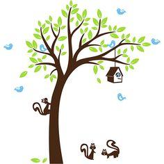 Adesivo de Parede Árvore Infantil Doce Quintal Menino Stixx Adesivos Criativos Marrom/Verde/Azul (145x220cm)