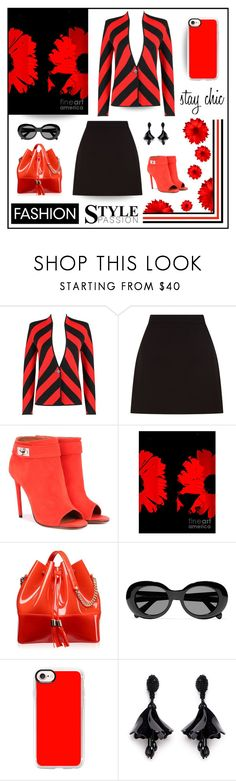"""""""Orange and black"""" by outfitsloveyou ❤ liked on Polyvore featuring Givenchy, Kartell, Acne Studios, Casetify, Oscar de la Renta and Mio"""