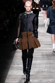 Blue Shirt and Brown Skirt with Mesh Cutouts - Fendi   Fall 2014 Ready-to-Wear Collection   Style.com