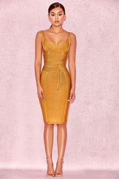 9c4294d474 HOUSE OF CB  Belice  Ginger Tie Waist Bandage Dress L 12   14 MA