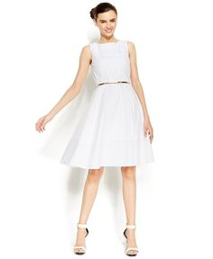 Calvin Klein Eyelet Belted A-Line Dress - Dresses - Women - Macy's
