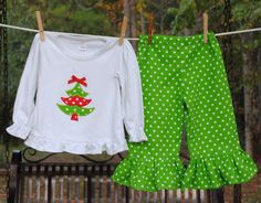 Christmas Tree Applique Ruffled Outfit. $47.00, via Etsy.
