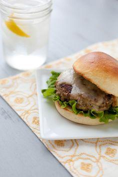 Mushroom-Crusted Turkey Burgers with Havarti