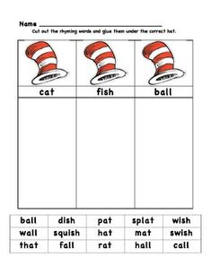 Worksheets Cat In The Hat Worksheets worksheets hats and cats on pinterest cat in the hat rhyming