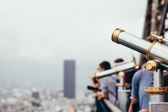 Image of Tourist Telescopes City View. This free stock photo is also about: Gold, City, Urban, Views, silver, Travel, People, Explore, Tourists, and Lifestyle.