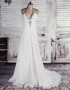 Chiffon Halter Neck Sheath Column Floor Length Ivory Wedding Dresss