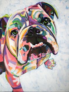 English Bulldog Print Art Print by Adrienne Lewis Paintings