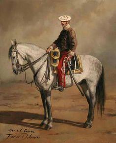 """General Cabrera, óleo de pequeñas dimensiones. Ramón Cabrera y Griñó, nacido en 1806, fue comandante en jefe del Ejército del Bajo Aragón de las fuerzas carlistas durante la I Guerra Carlista (1833-1840), conocido con el sobrenombre de """"El Tigre del Maestrazgo""""."""