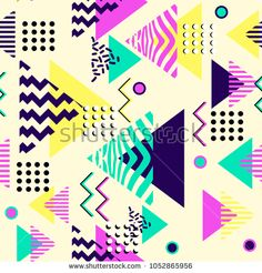 Geometric abstract seamless pattern. Triangle colorful Memphis 60s, 70s, 80s, 90s.