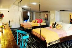 Chic and colorful girls' room with hanging beds