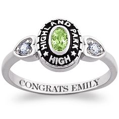 Ladies Sterling Silver Traditional Oval Stone & CZ Heart Class Ring - 20946 | Limoges Jewelry
