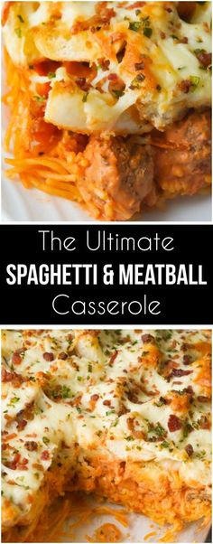This baked spaghetti and meatballs casserole is topped with garlic cheese bread. This easy dinner recipe is made with meatballs and spaghetti in a cream cheese and marinara sauce followed by a layer of bagel pieces coated with garlic butter and topped with cheese and bacon bits.